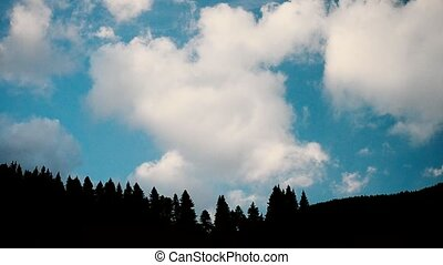 Clouds move above fir tree silhouettes in mountains on...