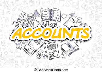Accounts - Cartoon Yellow Text. Business Concept. - Yellow...