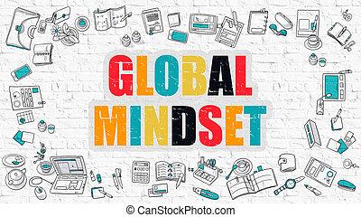 Global Mindset in Multicolor. Doodle Design. - Global...