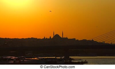 Istanbul at sunset - sunset behind the mosque in Istanbul...