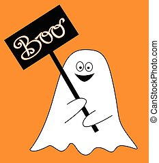 Ghost with Boo Sign