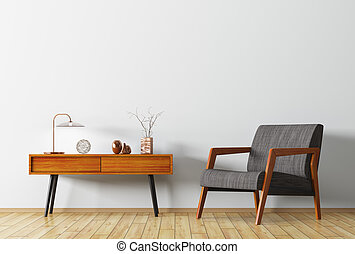 Interior with wooden side table and armchair 3d rendering -...