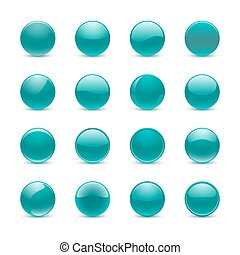 Teal round buttons