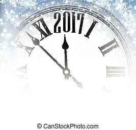 2017 winter background with clock. - 2017 winter background...