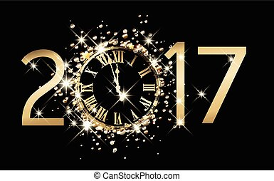 2017 new year background with clock. - 2017 new year black...