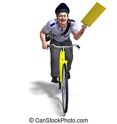 a postman on a bike with a letter. 3D rendering with...