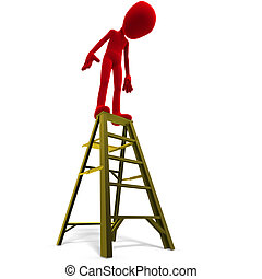 3d male icon toon character on top of a ladder. 3D rendering with clipping path and shadow over white
