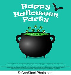 Postcard invitation to the Halloween party. Pot witches...