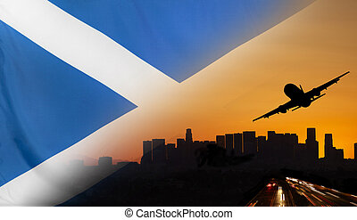 Scotland fabric Flag Travel and Transport Concept - Travel...
