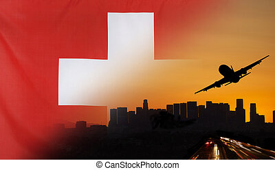 Switzerland fabric Flag Travel and Transport Concept -...