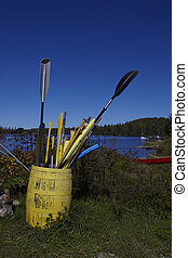 Paddles in a barrel close to lake on a sunny day