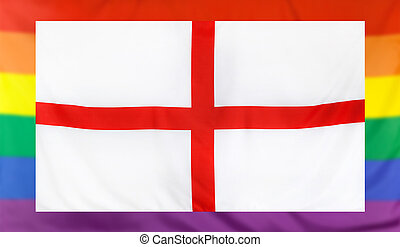 Flag of England and rainbow flag - LGBT movement concept...