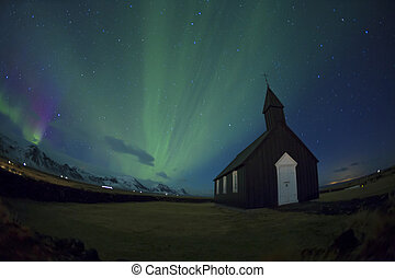 Northern Lights Black Church fisheye - Northern Lights Black...
