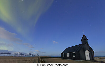 Northern Lights Black Church in Iceland long exposure