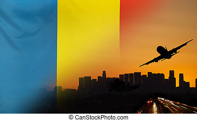 Romania fabric Flag Travel and Transport Concept - Travel...