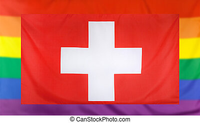Flag of Switzerland and rainbow flag - LGBT movement concept...