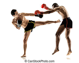 Muay Thai kickboxing kickboxer boxing men isolated - one...