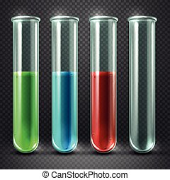 Vector test tubes filled with liquids of different colors and blood