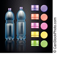 Vector empty plastic water drink bottles with set of multicolored caps