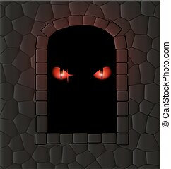 darkness, stone wall and red eyes - stone wall, window-arch...