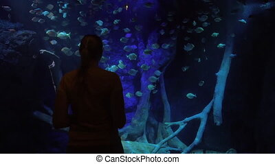 Woman making pad photos during visit to oceanarium - Woman...