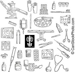 Sketch of medicine icons for hospital - Sketch of medicine...