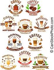 Premium quality coffee beverages symbols - Premium quality...