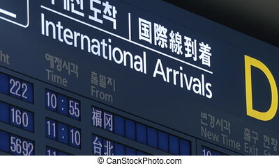 International arrivals schedule in Seoul airport