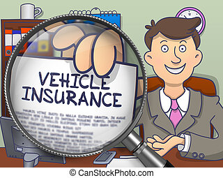 Vehicle Insurance through Lens. Doodle Concept.
