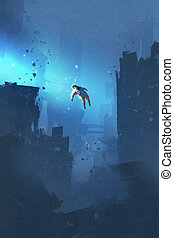 spaceman floating in abandoned city