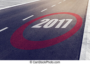 2017 speed limit sign on highway, new year concept