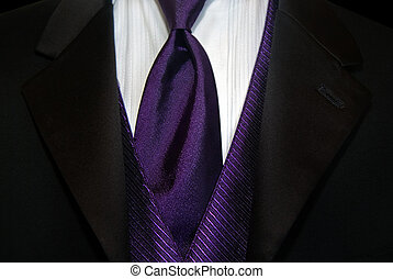 Purple Tie - Purple tie accenting a black tuxedo.