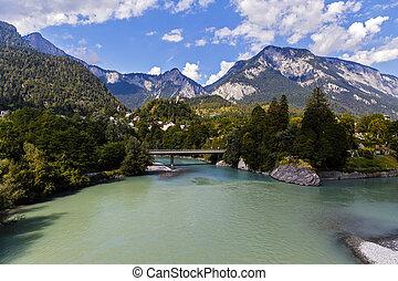 bello, montagna, fiume, alpi, paesaggio