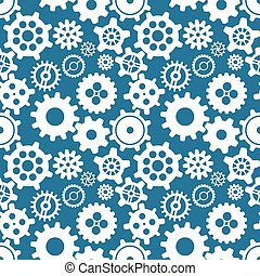 Different silhouettes of cogwheels on blue, seamless pattern...