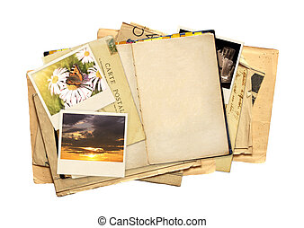 Old book, vintage post card and photos. Objects isolated on...
