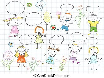 Girls and boys with comic speech bubbles