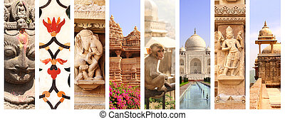 Collage with landmarks of India - Collage with famous...