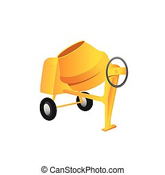 Large construction concrete mixer on a white background....