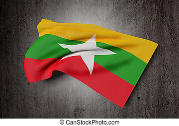 Republic of the Union of Myanmar flag waving - 3d rendering...