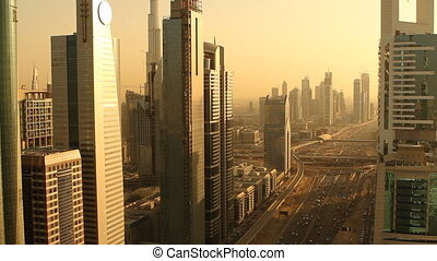 dubai sunset trafficmov - golden mood of dubai city right at...