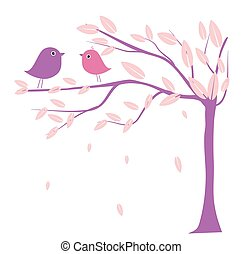 Two cute birds on the tree branches