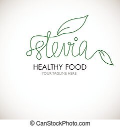 Stevia lineart word logo vector illustration. Logotype with...