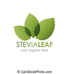 Stevia leaf logo vector illustration. Logotype with three...