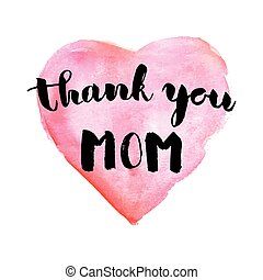 Greeting watercolor card. Mother's day.Thank you...