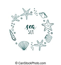 Summer Vector Circle Frame. Background with Seashells, Sea...