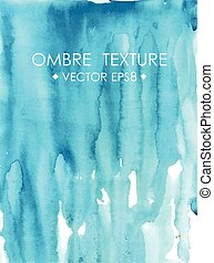 Hand drawn ombre texture. Watercolor painted bright blue...