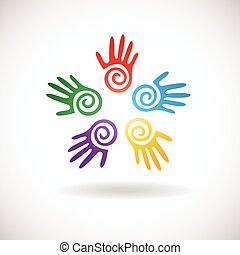 children and adults hands together - Circle shape from...