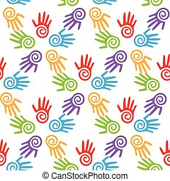 Mother s and kid hands, seamless border background, vector