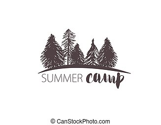 vector camping emblem. outdoor activity symbol with grunge...