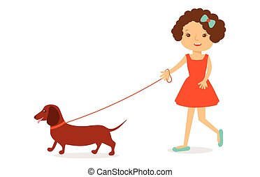 Cute little girl in red dress with curly hair  dachshund dog.